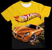 Camiseta Infantil Hot Wheels Amarelo MC