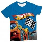 Camiseta Infantil Hot Wheels Corrida MC