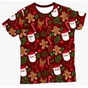 Camiseta Infantil Enfeites de Natal Vermelho 2 MC