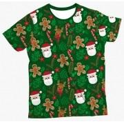 Camiseta Infantil Enfeites Natal Verde 2 MC