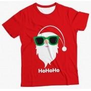 Camiseta  Infantil Papai Noel de Óculos MC