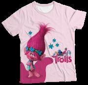 Camiseta Infantil Trolls Rosa MC
