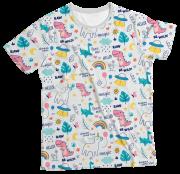 Camiseta Infantil Unicórnio Branco MC
