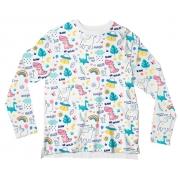 Camiseta Infantil Unicórnio Branco ML