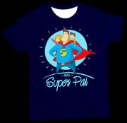 Camiseta Adulto Meu Super Pai Azul MC