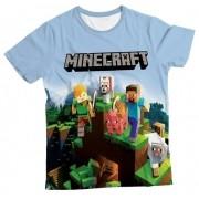 Camiseta Infantil Minecraft Azul Claro MC