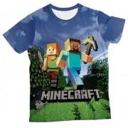 Camiseta Infantil Minecraft Azul MC