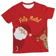 Camiseta Infantil Natal Feliz Vermelho MC