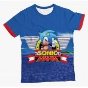 Camiseta Infantil Sonic Mania Azul MC