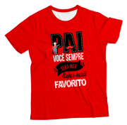 Camiseta Adulto Super Pai Favorito Vermelha MC