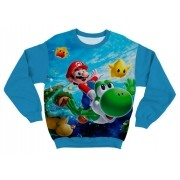 Moletom Adulto Super Mario Azul