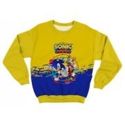 Moletom Adulto Sonic Mania Amarelo