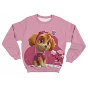 Moletom Infantil Skye Patrulha Canina Rosa