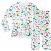 Pijama Adulto Unicórnio Branco PJML