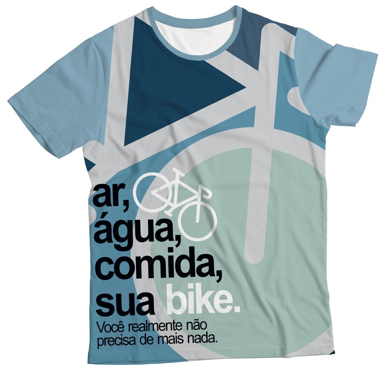 Camiseta Adulto Ar, Água, Comida, sua Bike Azul MC