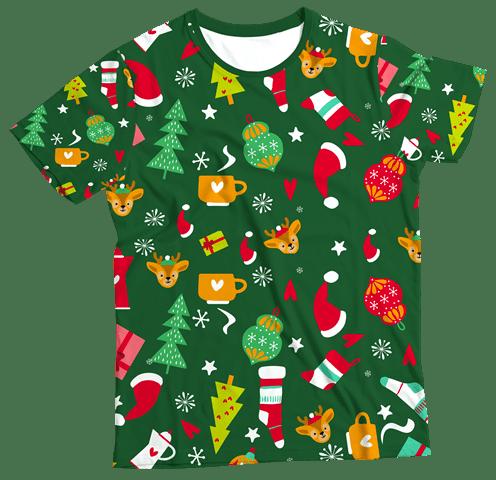 Camiseta Adulto Enfeites de Natal Verde MC