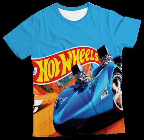 Camiseta Infantil Hot Wheels Azul MC