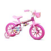 Bicicleta Infantil Nathor Aro 12 Flower Rosa Menina