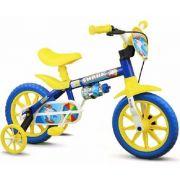 Bicicleta Infantil Nathor Aro 12 Shark Amarela Azul Menino