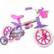 Bicicleta Infantil Nathor Aro 12 Violet Branca Roxa Menina