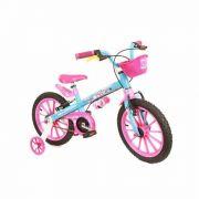 Bicicleta Infantil Nathor Aro 16 Candy Azul Com Rosa Menina