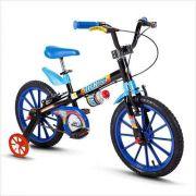 Bicicleta Infantil Nathor Aro 16 Tech Boys Menino Preto Azul