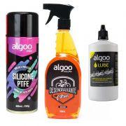 Desengraxante spray citrus 700ml + silicone ptfe 400ml + lubrificante lube cera 200ml
