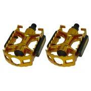 Pedal Alumínio Dourado Inglês Com Refletor Rosca Grossa 9/16