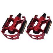 Pedal Alumínio Vermelho Sueco Com Refletor Rosca Fina 1/2