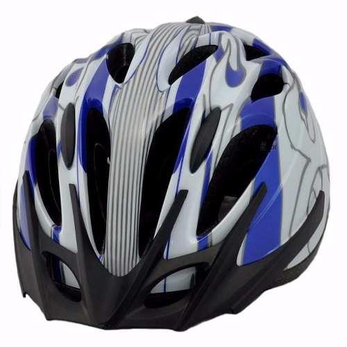 Capacete Ciclismo High One Azul Branco Prata 17-11 M 52-62