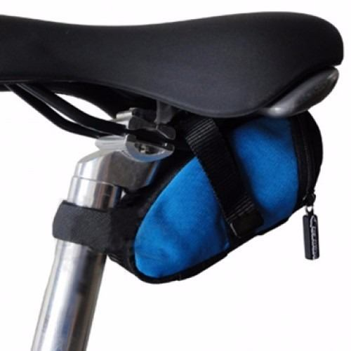 Bolsa De Selim Venzo Bike Tamanho P Preto Azul Nylon E Ziper
