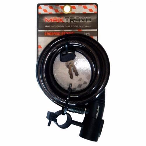Cadeado Maxtrava Espiral C/ Chave 1m X 12mm C/ Suporte Fumê