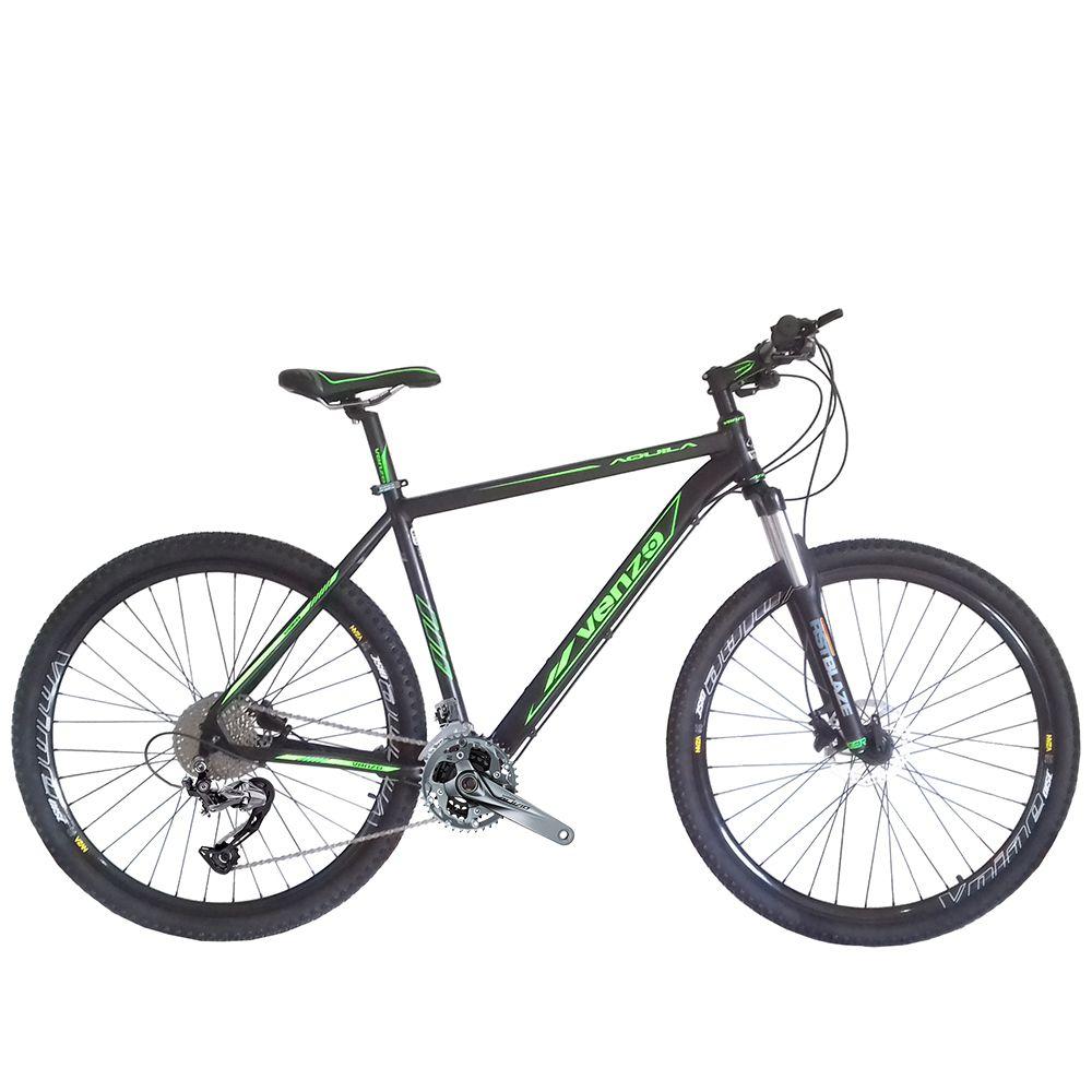 Bicicleta Venzo Aquila 29 Freio Hidráulico 27v Shimano Alivio Hollowtech Garfo Preload