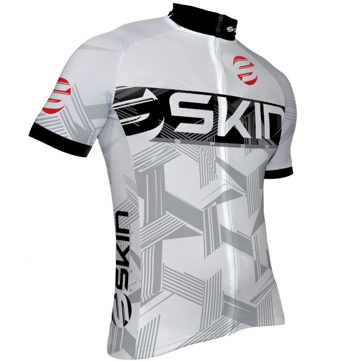 Camisa Ciclismo Masculina Skin Fun Branco Cinza Preto