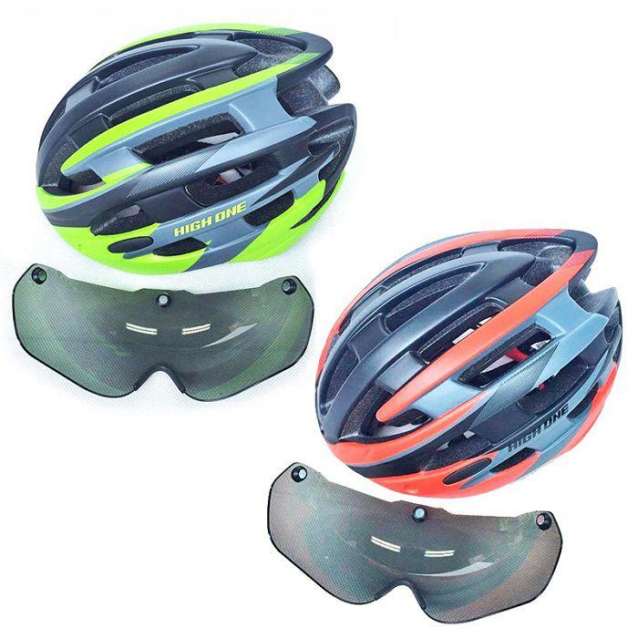 Capacete Bike Mtb Casco com Óculos e Pisca High One