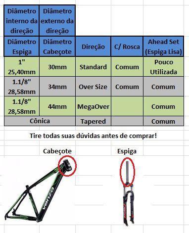 Garfo Suspensão 26 Mode 711G V-brake Disco Over Rosca