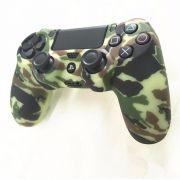 Capa de Silicone para Controle PS4 Verde Cammo