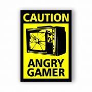 Placa Decorativa Angry Gamer - PVC - 20x14cm