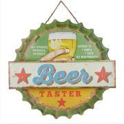 Placa Decorativa Beer Área da Cerveja - Metal - 35x35cm