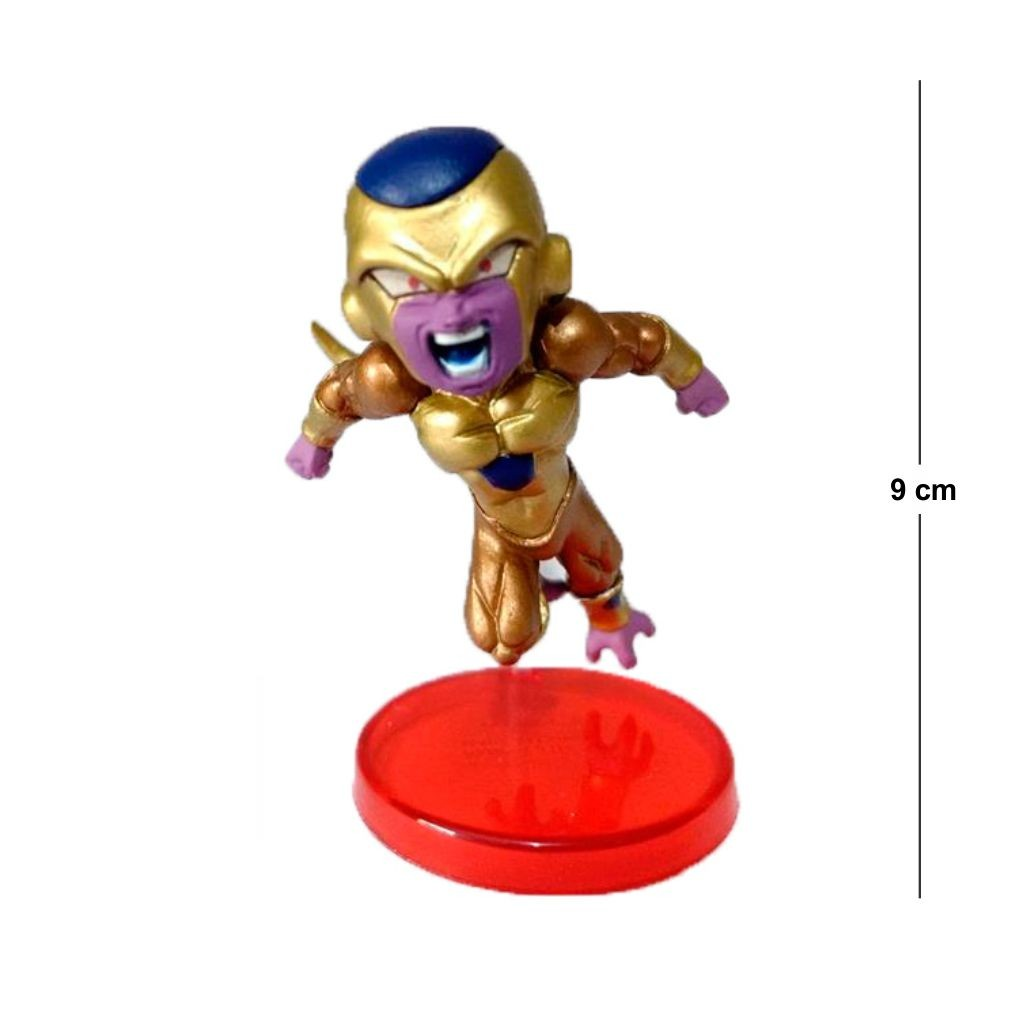 Action Figure DBZ Freeza Dourado 9CM Base Vermelha