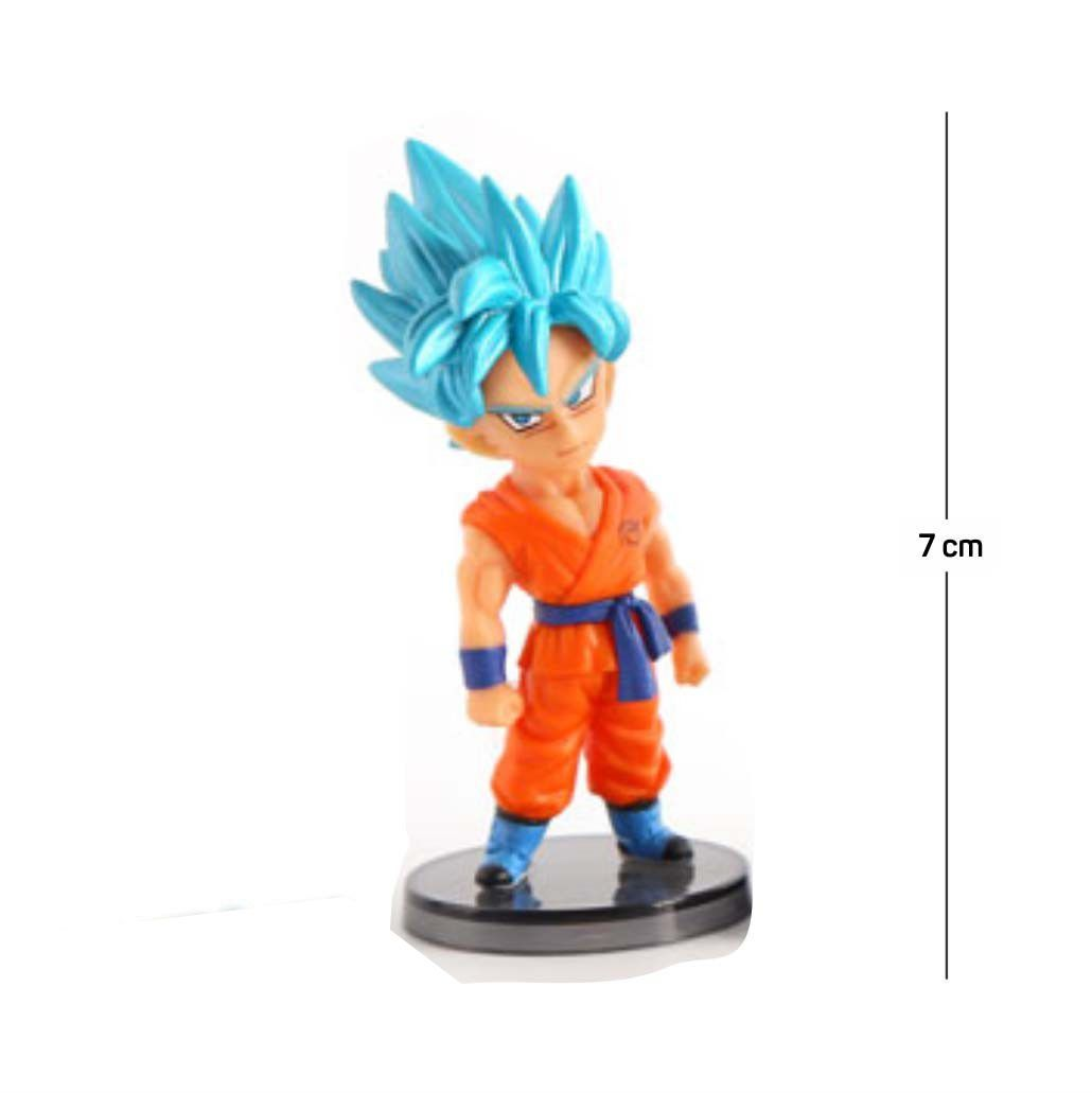 Action Figure DBZ Goku Saiyan Blue 7CM PVC Base Preta