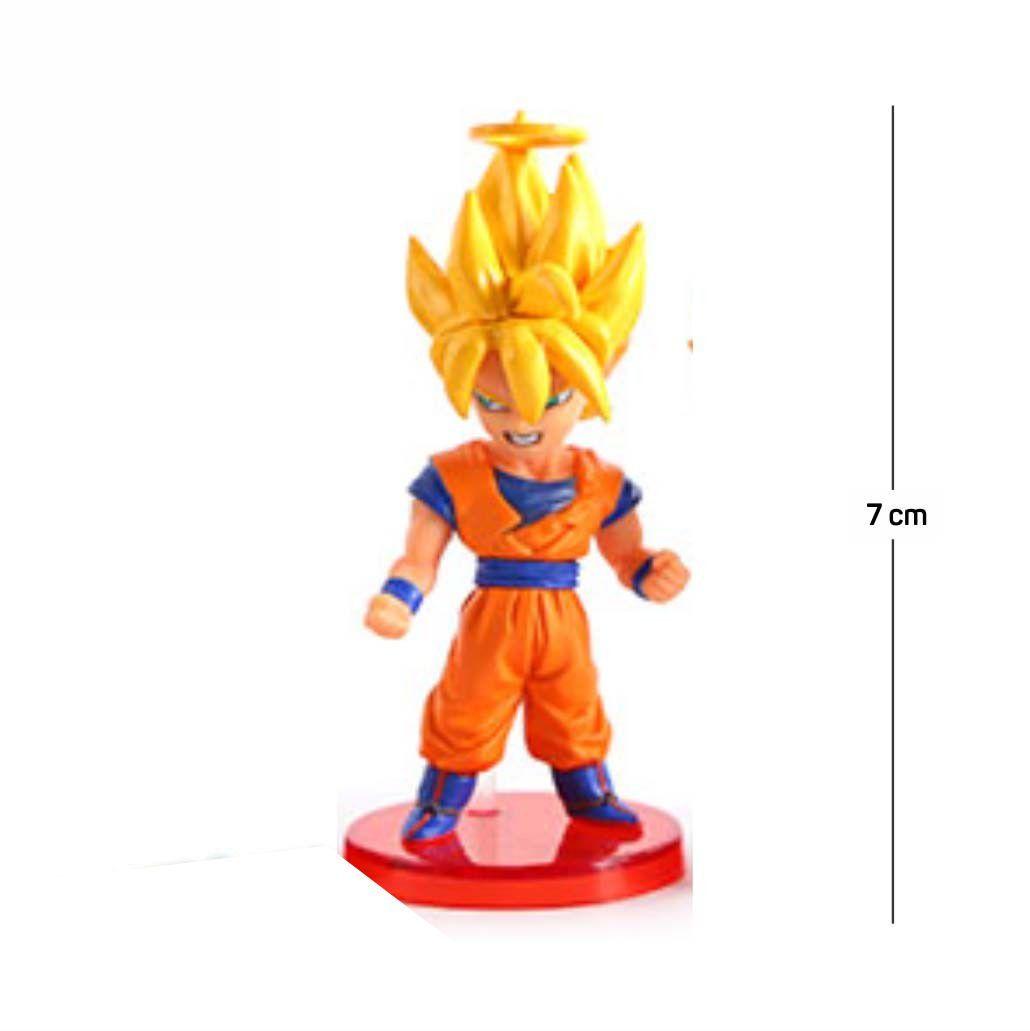 Action Figure DBZ Goku Sayajin 7CM PVC Base Vermelha