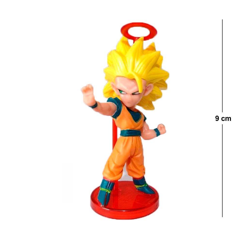 Action Figure DBZ Goku SSJ 3 9CM Base Vermelha