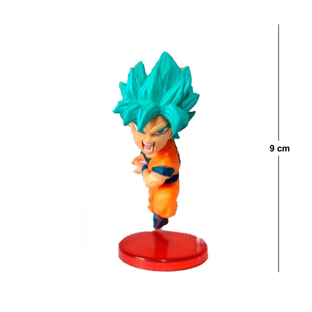 Action Figure DBZ Goku SSJ Blue 9cm Base Vermelha