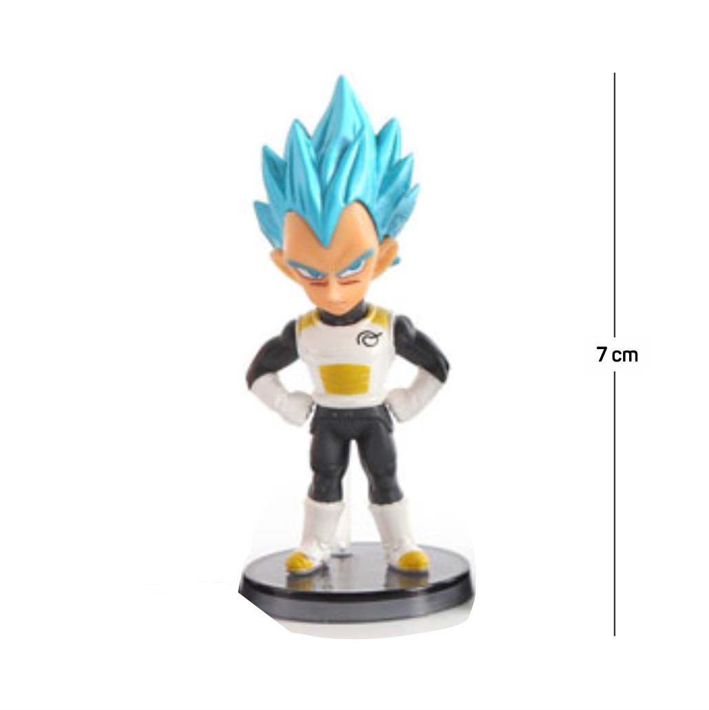 Action Figure DBZ Vegeta Saiyan Deus 7CM PVC Base Preta