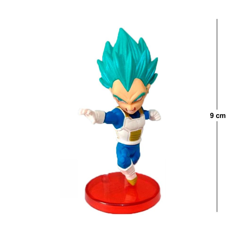 Action Figure DBZ Vegeta SSJ Blue 9CM Base Vermelha