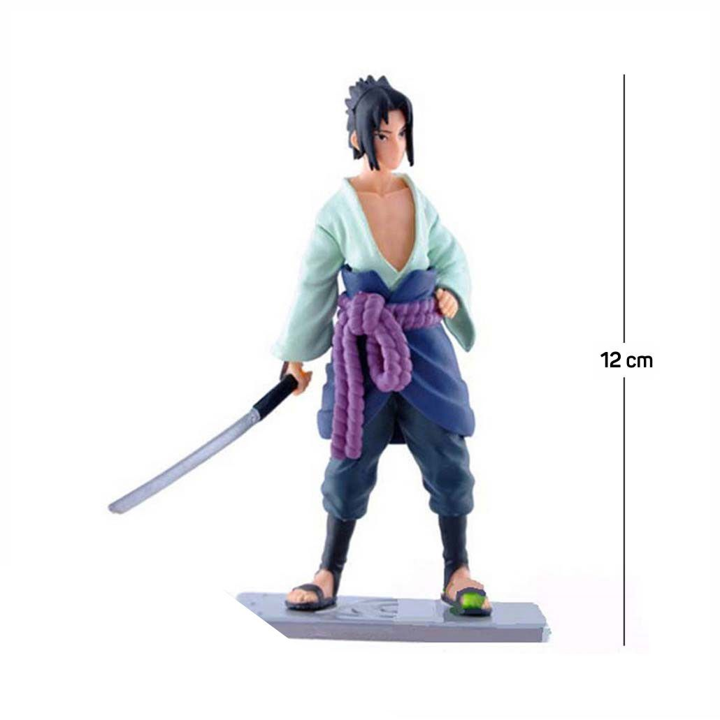 Action Figure Naruto Sasuke Shippuden 12CM PVC Base Prata