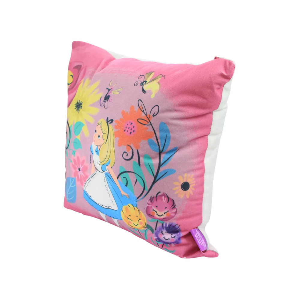 Almofada Alice Floral - Alice no País das Maravilhas - 40X40 (Veludo)