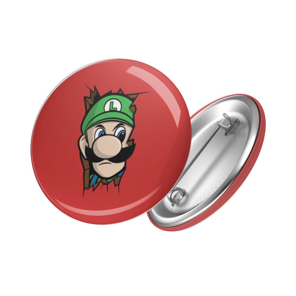 "Botton ""Here's Johnny"" Luigi - Super Mario - 6X6"
