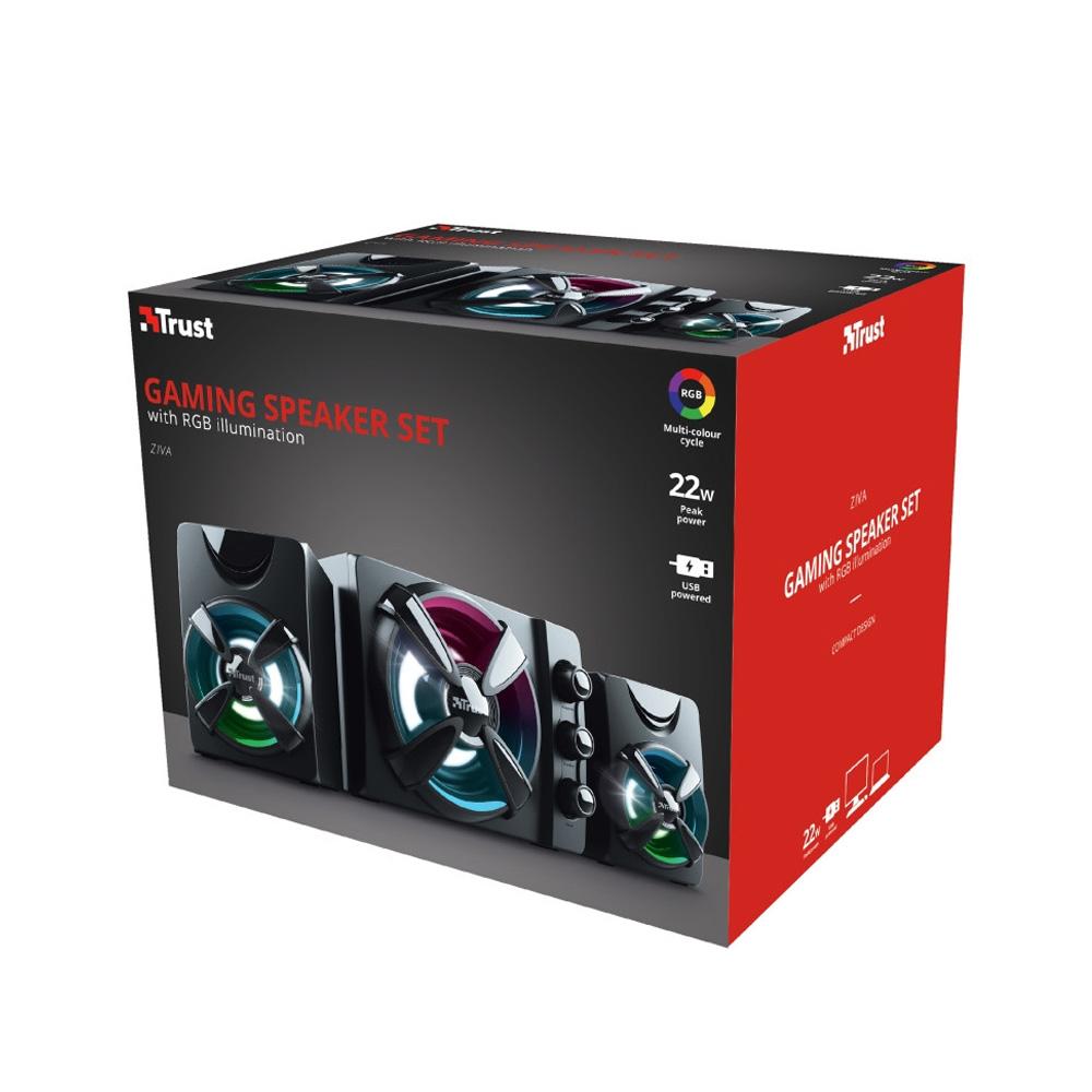 Caixa de Som Gamer RGB Trust Ziva 2.1 Canais 11W RMS